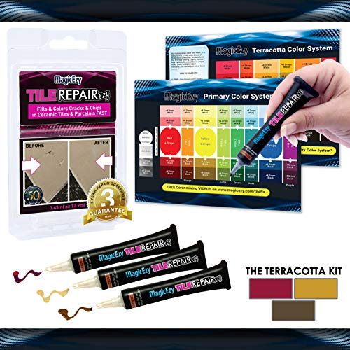 MagicEzy Tile Repairezy :- Terracotta Tile Repair Kit - Fix and Color Ceramic Tile Cracks and Chips in Seconds