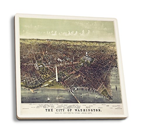 (Lantern Press District of Columbia, Washington - (1892) - Panoramic Map (Set of 4 Ceramic Coasters - Cork-Backed, Absorbent))