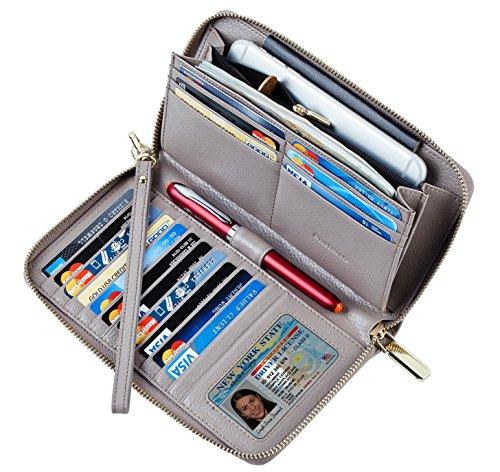 SimpacX Chelmon Womens RFID Blocking Wallet Genuine Leather Zip Around Clutch Large Travel Wallet Purse Passport Holder(gray)