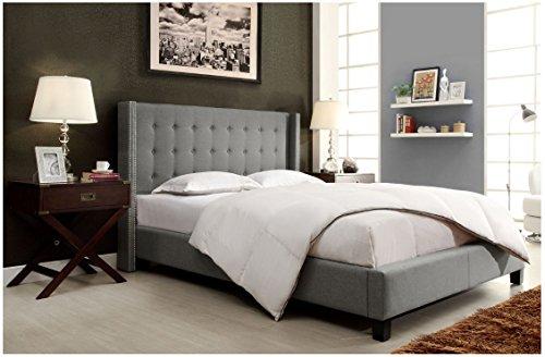 Amazon Com Modhaus Modern Button Tufted Wingback Gray Linen