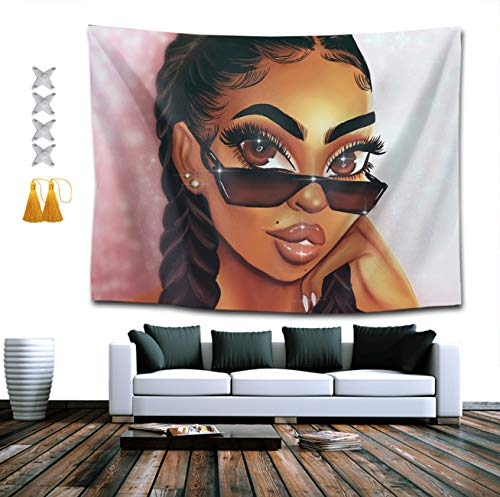 PTYHR Wall Tapestry, Abstract Pop Black Girl Art African American Women Bedroom Living Room Dorm Room Hippie Decorations Tapestry, Queen King Size Elegant Table Cloths Sofa Covers (Indigo Moon Jackets)