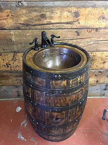 Rustic Whiskey Barrel Bathroom Vanity with Hammered Copper Sink and Oil Rubed 2-Handle Waterfall Faucet