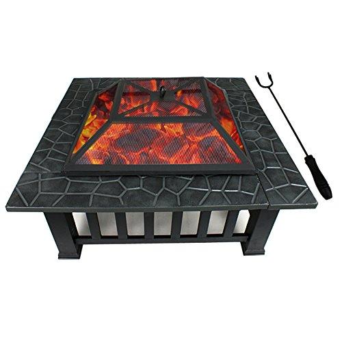 F2C Outdoor Heavy Steel 32'' Fire Pit Wood Burning Fireplace Patio Backyard Heater Steel Firepit Square W/Waterproof Dust Cover by F2C