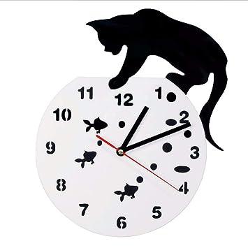 LLLYZZ Gato En Una Pecera Adorable Arte De La Pared Reloj De Pared Gato Y Pescado ...