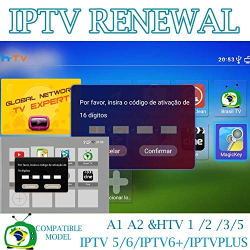 IPTV Brazil TV Box Renew Code, Activation Code for A1/A2/ HTV1 3 4 5 IPTV 5  6 6 Plus 6+/ King 5/6,Subscription 16-Digit Renew Code,One Year,TV Box