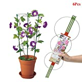 Exttlliy 6 Pcs Plant Support Ring Garden Trellis Flower Stainless Steel Support Climbing Plant Grow Cage with Adjustable Rings (60cm)
