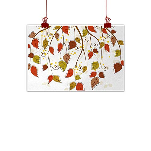 """Home Wall Decorations Art Decor Autumn,Branches with Fall Leaves Seasonal Colors Nature Environment Foliage,Burnt Sienna Brown Green 32""""x24"""" for Bedroom Living Room Kitchen Bathroom Artwork"""