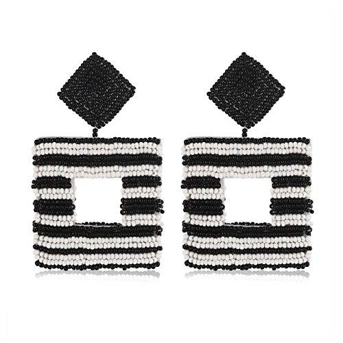 (Beaded Drop Earrings Handmade Seed Bead Square Hoop Dangle Earrings Bohemia Statement Earring Studs for Women Girls (black&white))