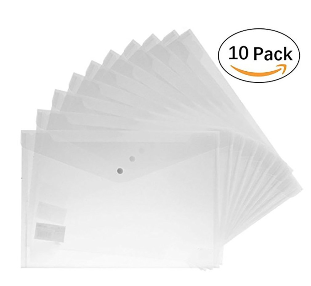 Clear Document File Holder-Kitchare Premium Translucent PVC Envelope with Snap Button Waterproof Document Folder for A4 Size(10pcs)