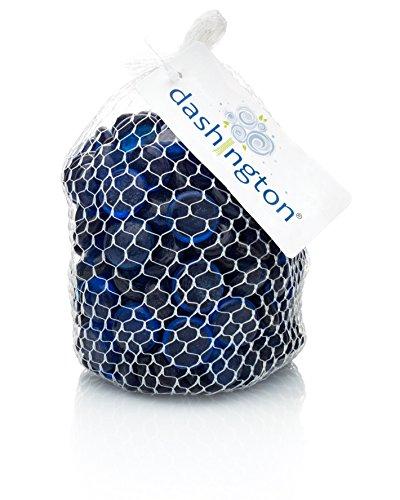 Dashington Flat Cobalt Blue Marbles, Pebbles (2.5 Pound Bag) for Vase Filler, Table Scatter, Aquarium Decor, Approximately 250-300 Marbles