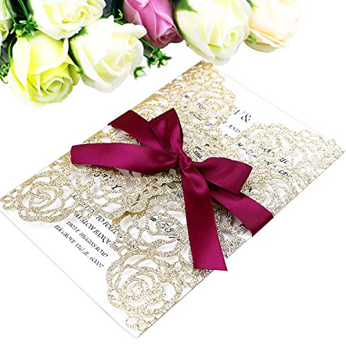 - PONATIA 25PCS/Lot 250GSM 5.12 x 7.1'' Laser Cut Hollow Rose with Burgundy Ribbons Glitter Wedding Invitations Cards for Wedding Bridal Shower Engagement Birthday Graduation Invite (Gold Glitter)