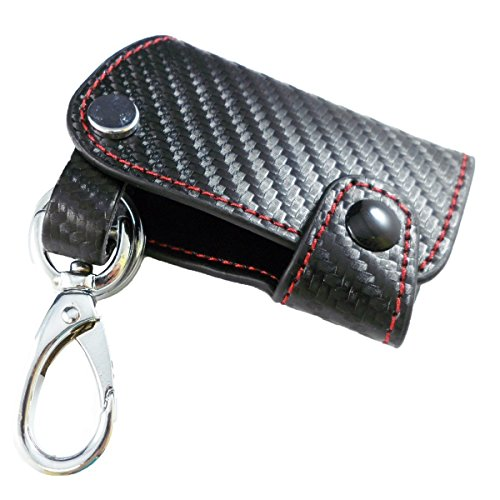ICBEAMER Carbon Fiber Pattern Leather Key Fob Holder Case for Smart Key Keyless Remote [Pack of 2]
