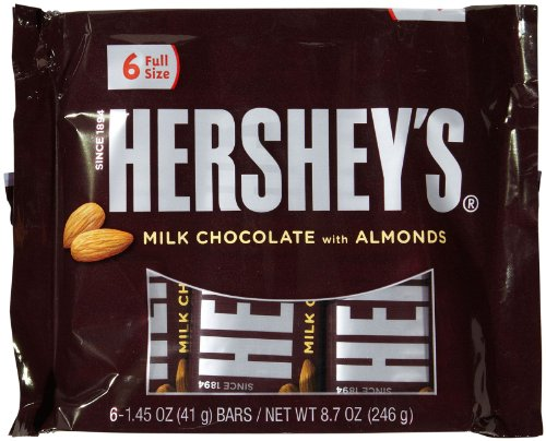 Hershey's Milk Chocolate Bars with Almonds, 6-Count, 1.45-Ounce Bars (Milk Almond Baking)