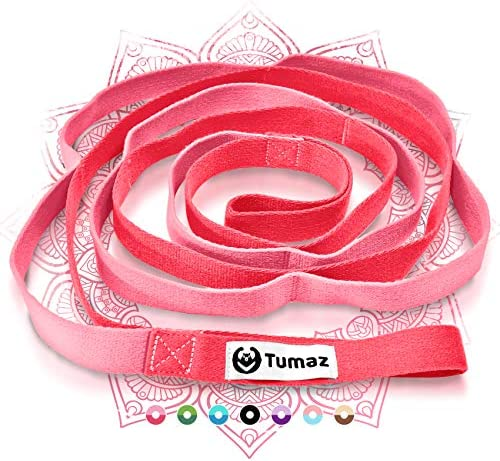 Tumaz Stretch Strap - 10 Loops & Non-Elastic Band - The Perfect Home Workout Stretching Strap for PT(Physical Therapy), Yoga, Pilates, Dance - [Extra Thick, Durable, Soft - Comes with Travel Bag]