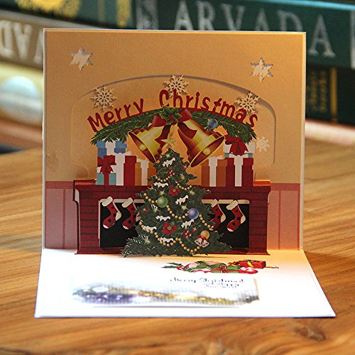 Pausseo Merry Christmas 3D Pop Up Greeting Cards Xmas Tree Lover Happy Birthday Anniversary Festival Gift Holiday Happy New Year Santa Claus Wedding Thanks Congratulations Card for All Occasions (G)