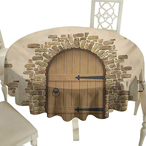 Cranekey Plaid Round Tablecloth 60 Inch Rustic,Wine Cellar Entrance Stone Arch Ancient Architecture European Building,Sand Brown Pale Brown for Home,Party,Wedding & -