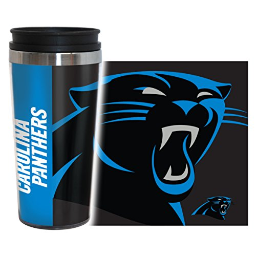 NFL Carolina Panthers Hype Travel Tumbler, 16-ounce, Black