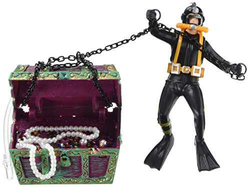 Penn Plax Aquarium Decoration With Moving Treasure Chest, Floating Diver, and Bubble Action 4 Inches High - 065 ()
