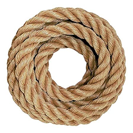 Marine DIY Projects Crafts Moisture Indoor//Outdoor UnManila Tan Twisted 3 Strand Polypropylene Cord 1 inch UV 300 ft Commercial SGT KNOTS ProManila Rope and Chemical Resistant