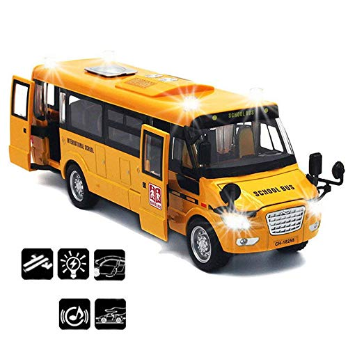 CORPER TOYS School Bus Toy Die Cast Vehicles Yellow Large Alloy Pull Back 9'' Play Bus with Sounds and Lights for Kids -