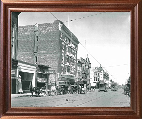 Vintage City Sacramento K Street 1911 Old Model t, Cable Car Black And White Mahogany Framed Wall Decor Art Print Picture - Street K Sacramento