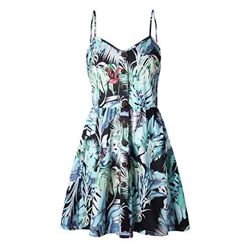 (Women's Sexy Boho V-Notch Sleeveless Beach Floral Mini Dress Spaghetti Strap Swing Skater Sundress (XL, Blue - Flower with Button))