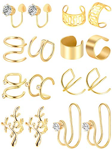Tatuo 8 Pairs Stainless Steel Ear Cuff Cartilage Cuff Non-piercing Earrings for Women Girls Embellishment, 8 Styles (Gold)