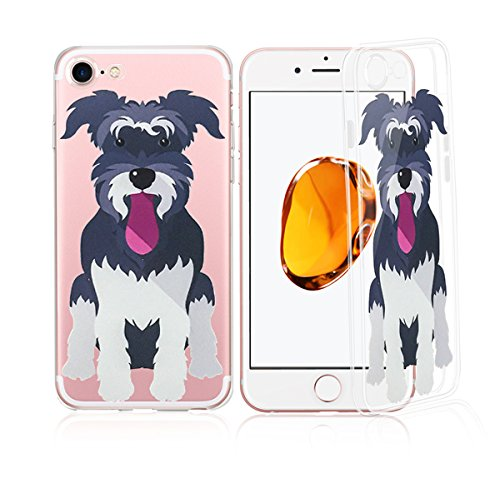 - DECO FAIRY Compatible with iPhone 8 Plus / 7 Plus, Cartoon Anime Animated Dog Puppy Pup Lover Miniature Schnauzer Transparent Translucent Flexible Silicone Cover Case