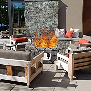 "BeUniqueToday 28"" Propane Gas Fire Pit Outdoor Finish Lava Rocks Cover 40,000 BTUs for Patio, Garden, Yard, Outdoor"