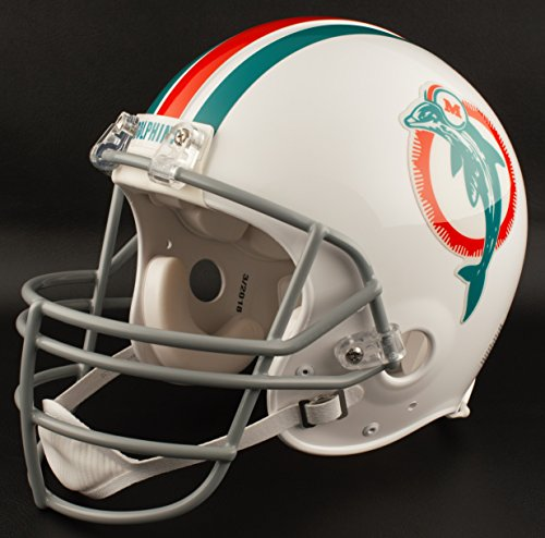 (Riddell Miami Dolphins 1973-1979 NFL Replica Throwback Football Helmet w/JOP Facemask)