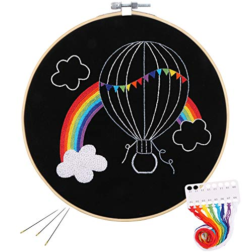 Full Range of Embroidery Starter Kit with Pattern, Kissbuty Cross Stitch Kit Including Embroidery Cloth with Pattern, Bamboo Embroidery Hoop, Color Threads and Tools Kit (Rainbow Hot Air Balloon)