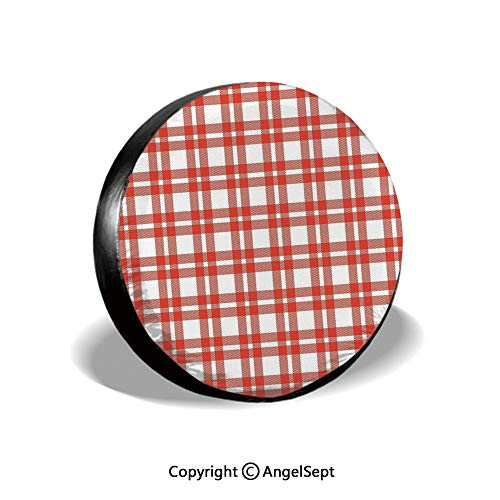 (Tire Cover,Checkered Squares and Stripes Abstract Geometric Arrangement Quilted Pattern Decorative,Vermilion White,for Jeep,Trailer, RV, SUV and Many Vehicle 14