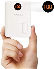 ROMOSS 10000mAh Portable Charger Type-C with LED Display, 3 Inputs and 2 Outputs External Battery Packs, Ultra Compact Power Bank Compatible for iPhone Xs Max, iPhone 8, iPhone 7, Samsung S8 and More