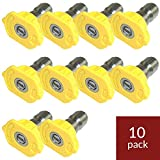 General Pump 9.802-296.0 Yellow QC Pressure Washer Nozzle 10pk 1504 (15 Degrees, Size #04)