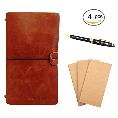 Handmade Leather Notebook Journal – Refillable, Perfect for Writing, Gifts, Fountain Pen Users, Sketching, Professional, Diary with Pen included in Gi…