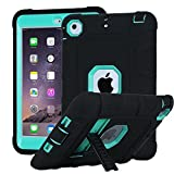 iTrendz iPad Mini Case, Shockproof, Drop Protection, Three-Layer Full-Body Rugged Hybrid Protective Kids Adult Case With Kickstand For iPad Mini and iPad Mini 2 with Retina - Turquoise Blue