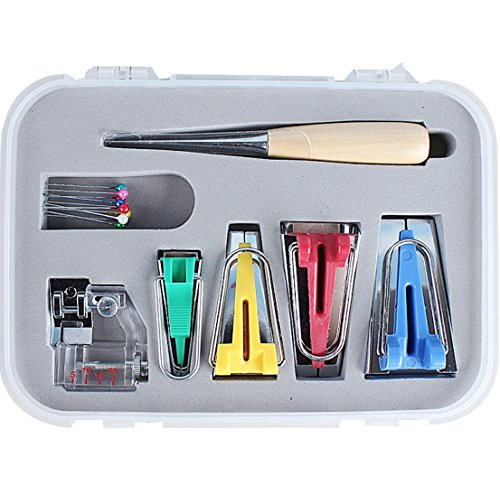 16 pcs Fabric Bias Set Tape Maker Kit with 4 Different Sizes and 12 Tools for Sewing & Quilting Awl (Tape Maker Kit)