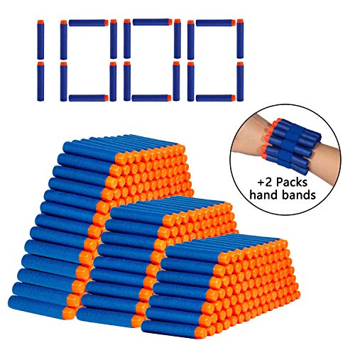 (Taiker 1000PCS Refill Darts Bullet with Two Hand Bands for N-Strike Elite Series Blasters Toy Guns for Kids)