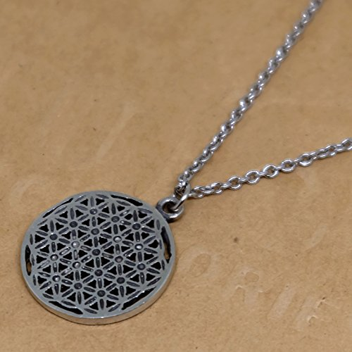 Classic Flower of Life Hexagon Sacred Pewter Pendant + 16-18 inch. long Pewter Necklace Lobster Clap Lock (Beanie Red Maltese Iron Cross)