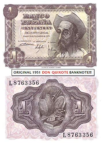 1951 ES WORLD'S ONLY BANKNOTE FEATURING DON QUIXOTE! RARE in OFFERED GRADE (AU)!! 1 PESETA Nearly Uncirculated