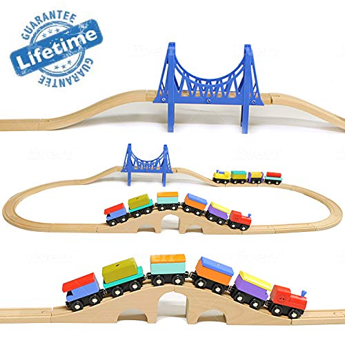 Elk & Bear Wooden Train Cars Railroad Tracks for Kids, Toddler Toys, Boys, Girls, Magnetic Railway Cargo Cars, Compatible with All Major Brands Build Fine Motor Memory Skills STEM Gift