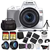 Canon EOS Rebel SL3 DSLR Camera with 18-55mm Lens (White) Bundle with 2x64GB Memory Card + Battery for CanonLPE17 + LCD Screen Protectors +Wide Angle Lens + 2X Telephoto Lens +Tripod and More