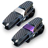 homEdge Sun Visor Clip, 2 Packs Sunglasses Holder for Car Sun Visor, Car Sunglasses Clip, Glasses Hanger Mount with Card Clip-Purple and Silver