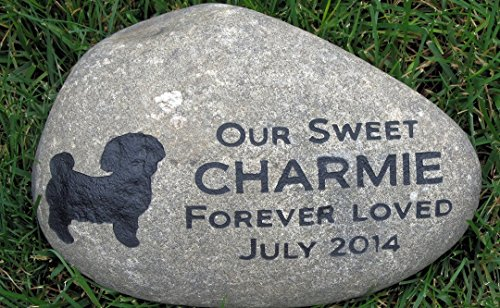 Personalized Dog Memorial Garden Stone. Large Riverstone Memorial, Dog Stone Memorial, Pet Loss, Sympathy Gifts, All Dog Breeds Available 11-12 Memorial Stone Pet Grave Marker by Mainline Engraving