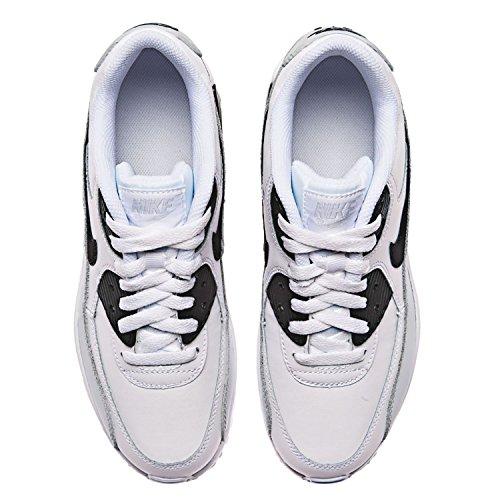 Nike Big Kids Air Max 90 Leren Hardloopschoenen, Lichtgewicht, Comfortabel En Duurzaam Volnerf En Kunstleer Wit / Zwart-pr Platina-wit