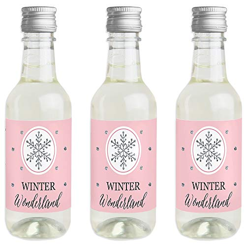 (Pink Winter Wonderland - Mini Wine and Champagne Bottle Label Stickers - Holiday Snowflake Birthday Party or Baby Shower Favor Gift for Women and Men - Set of 16)