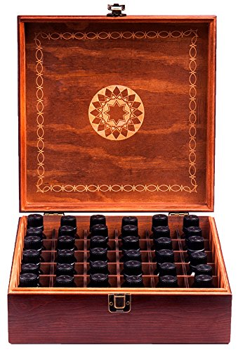 Beautiful Essential Oil Storage Box Holds 36 Bottles 5-10-15-30ML & 1oz Or 72 Roller Bottles - Free Roller Bottle Opener & 192 Essential Oil Labels