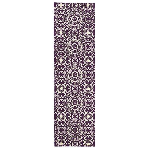 Kaleen Rugs Runway Purple/Ivory Suzani Hand-tufted Wool Rug (2'3' x 8')