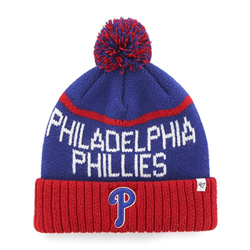 MLB Philadelphia Phillies '47 Linesman Cuff Knit Hat with Pom, One Size Fits Most, Royal