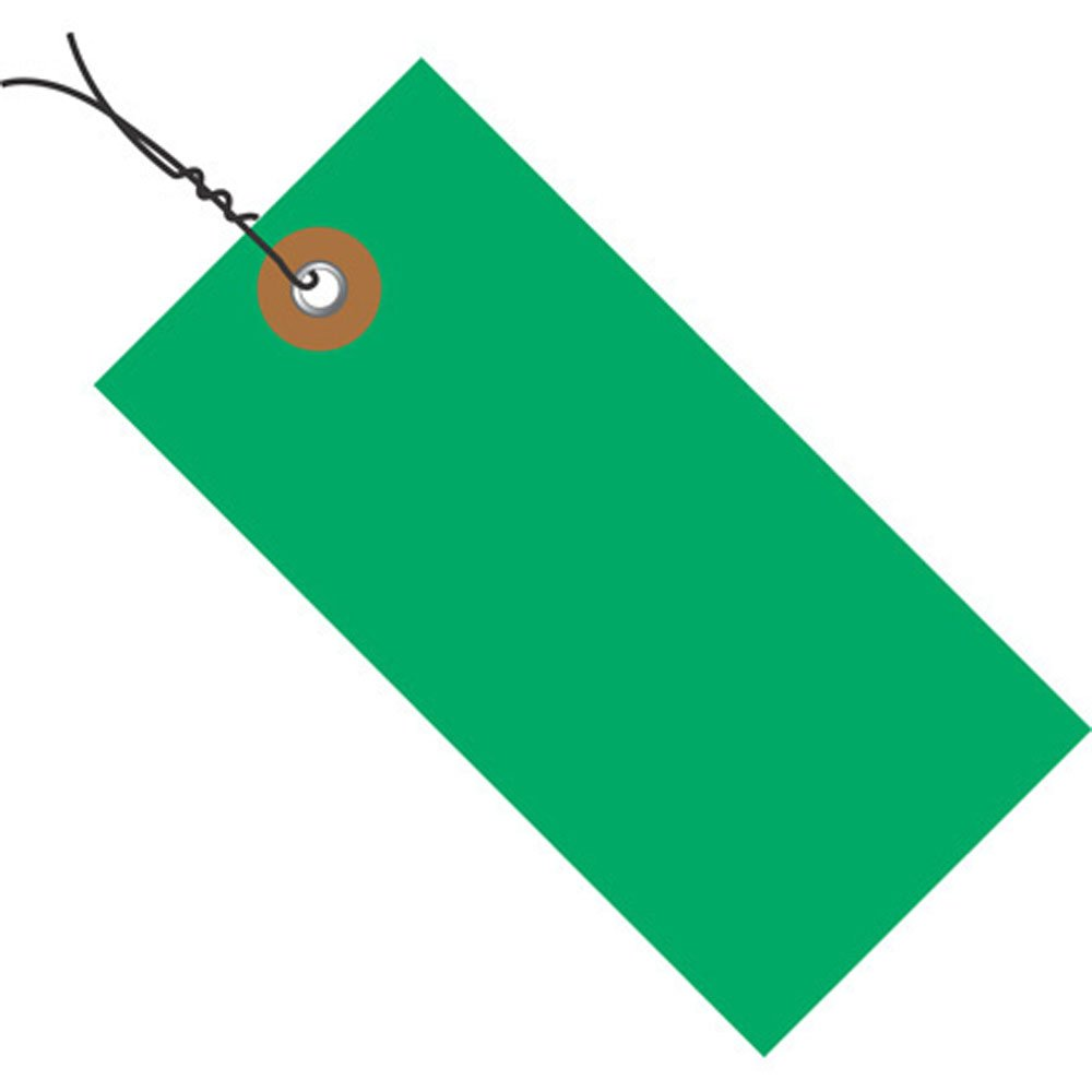 Quality Park G14053C Tyvek Spunbonded Olefin Pre-Wired Shipping Tag, 4-3/4'' Length x 2-3/8'' Width, Green (Case of 100)